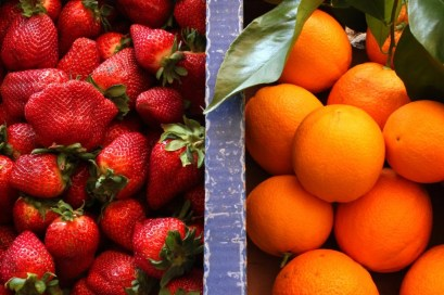 strawberries and oranges